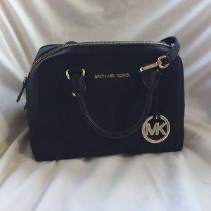 Michael Kors black saffiano leather satchel